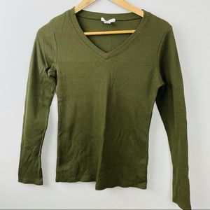 NWOT Ribbed waffle long sleeve army green shirt